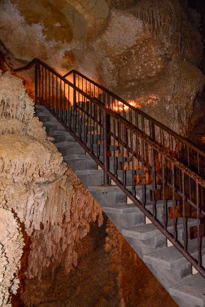 Stairway on Crystal Palace Tour of caves in Sonora Texas