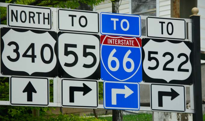 Roadsigns on the eastern state highways
