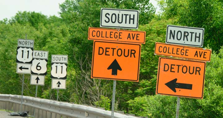 Roadsign detour in Pennsylvania