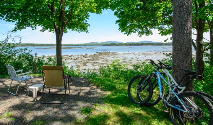 Waterfront RV campsite Narrows Too RV Resort Acadia National Park Maine