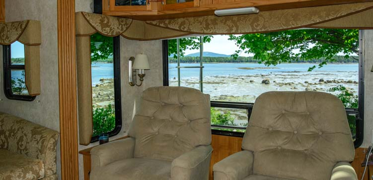 RV window view Narrows Too RV Resort Maine Thousand Trails