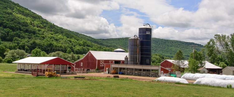 Red farmhouse and silo New York Catskill Mountains