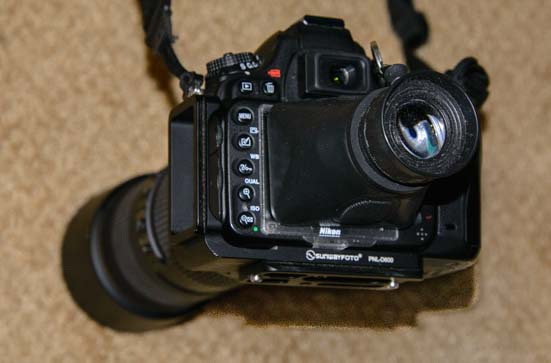 Hoodman Loupe on a Nikon D610 Camera
