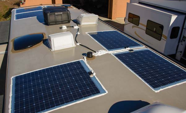 Flexible solar panels on a motorhome RV roof