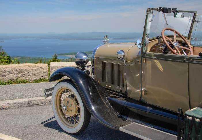 Ford Model A parked on Cadillac Mountain Maine