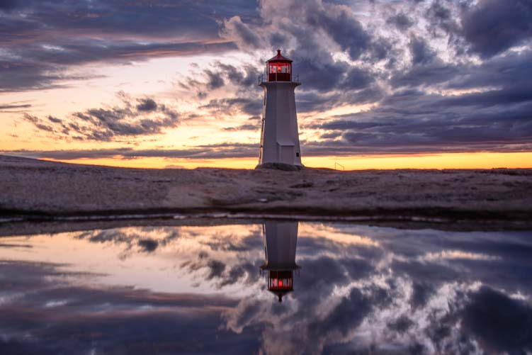 Peggy's Cove Lighthouse reflections Nova Scotia