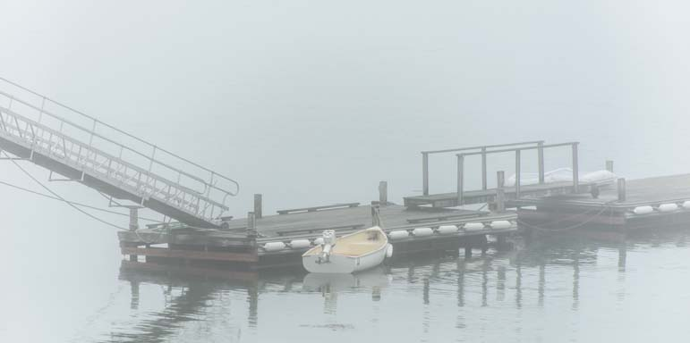 Fog at a dock in Maine