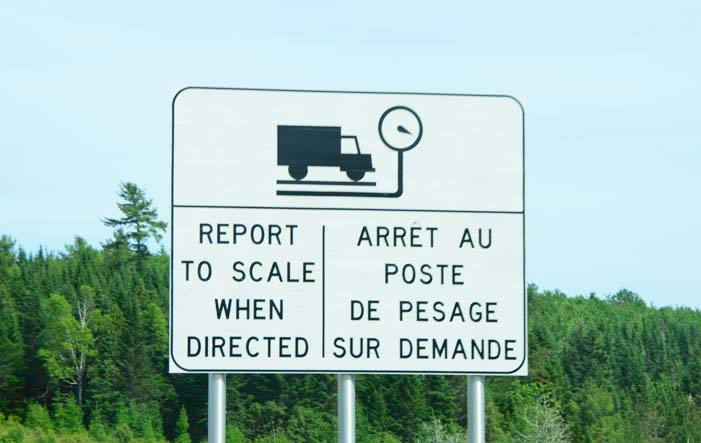 Truck scale sign New Brunswick Canada