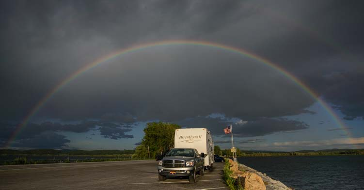 Rainbow over fifth wheel trailer New York