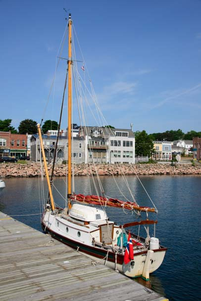 Sloop at Eastport tow dock in Maine