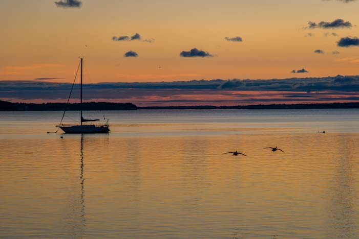 Sunset and sailboat Finger Lakes New York