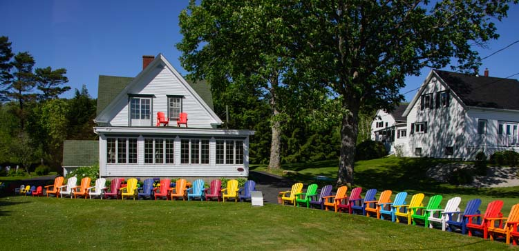 Colorful chairs LaHave River Nova Scotia Canada