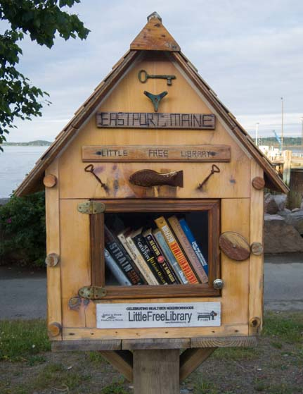 Eastport Maine Little Library stand