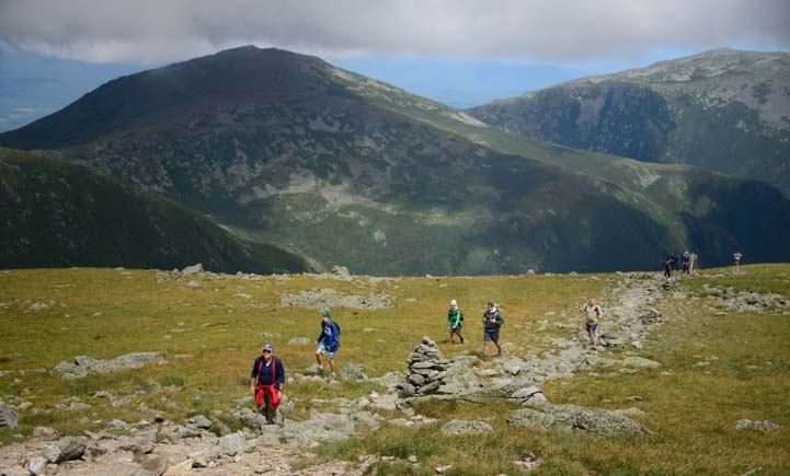 Hikers coming up Mt. Washington Summit Trail New Hampshire