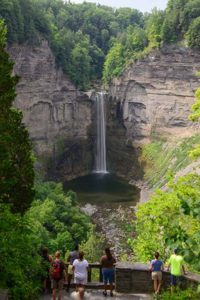 Taughannock Falls with people Ithaca New York