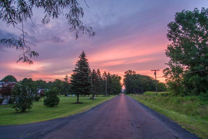 Sunset on farm roads in Finger Lakes New York