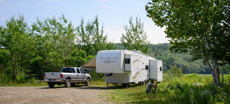 RV camping outside Bangor Maine