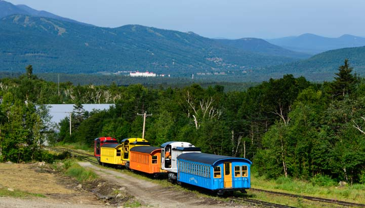 Cog railway trains lined up and ready to go_