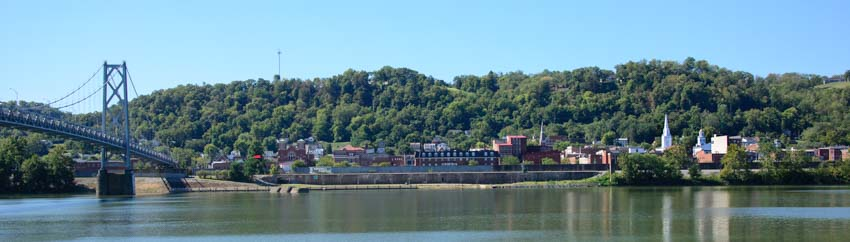 Maysville Kentucky seen from Aberdeen Ohio on the Ohio River
