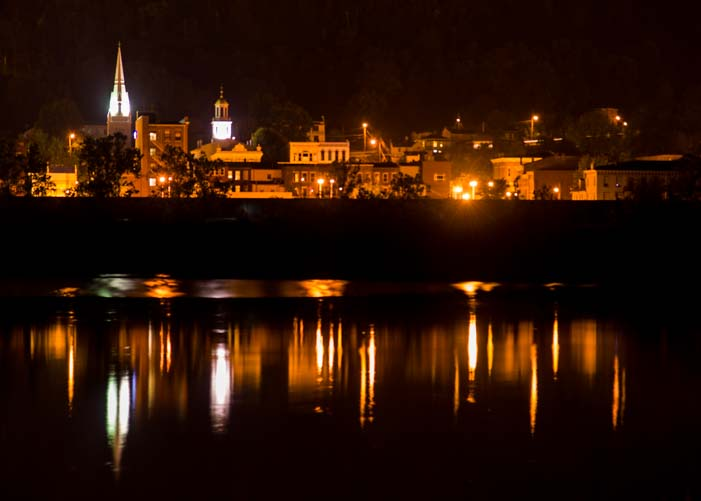 Maysville Kentucky at Night Ohio River reflections