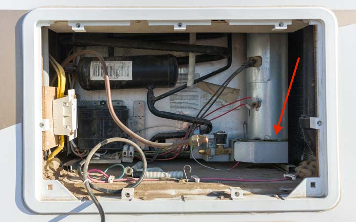RV warranty repair on a refrigerator - inside the vent