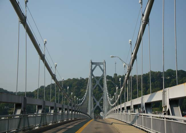 Driving over the Simon Kenton Memorial Bridge Maysville KY