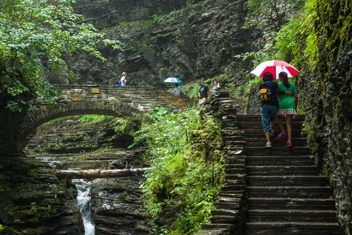 Watkins Glen stone stairs and bridge New York