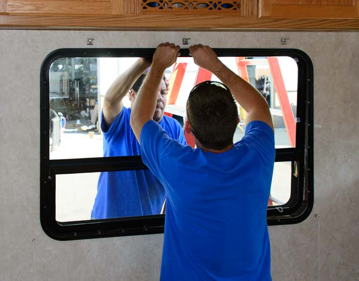 Installing RV window on fifth wheel trailer
