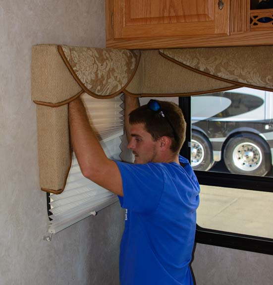 Installing day-night shades on RV window