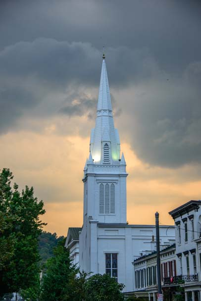 Fiery sky over church steeple