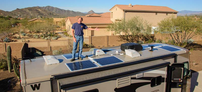 Flexible solar panels installed on a motorhome RV roof