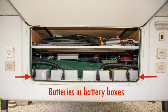 Fifth wheel RV battery boxes in basement