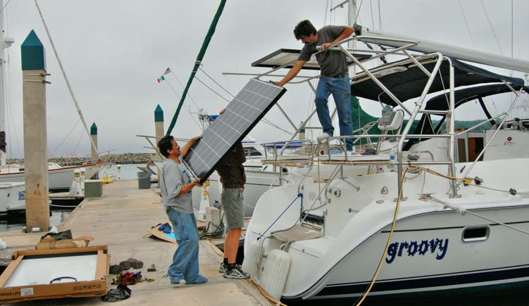Solar panel installation on a sailboat