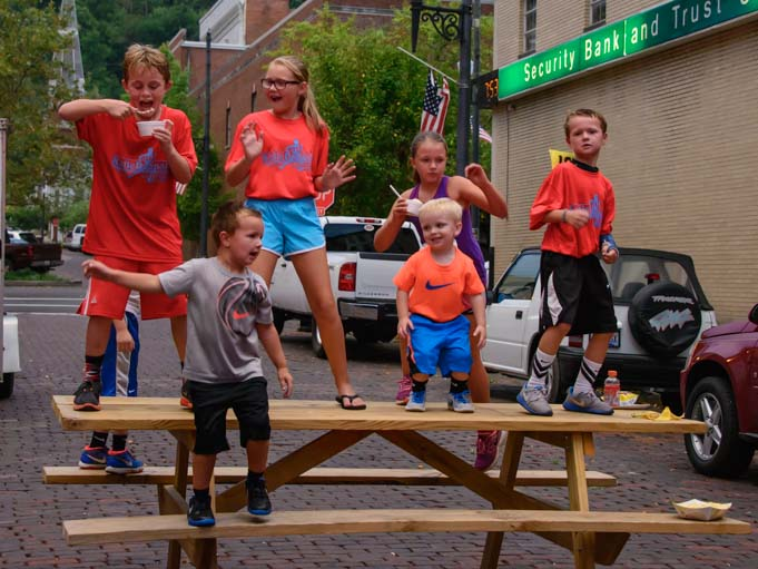 Kids dancing on the table Maysville Kentucky