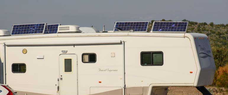 Solar panels on a fifth wheel RV roof