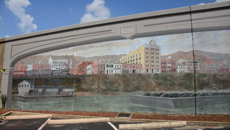Maysville Kentucky Flood Wall Mural River Barges