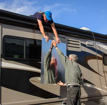 Solar panel installation on a motorhome RV