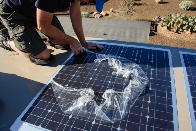 Removing plastic from flexible solar panel