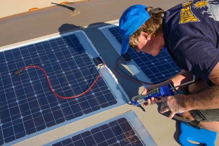 Installing solar panels on a motorhome roof