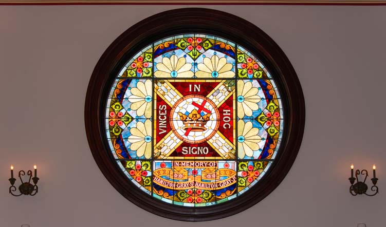 Masonic Temple stained glass window Cox Building Maysville Kentucky