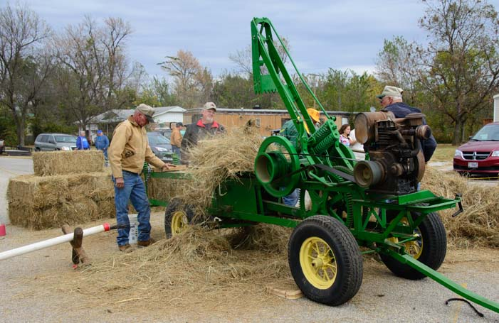 Haying with antique farm equipment Welch Fall Harvest Days Oklahoma