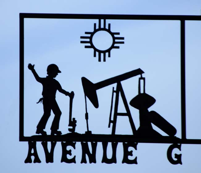 Metal art street sign oil drilling in New Mexico