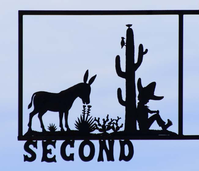 Donkey and cowyboy with cactus metal art street sign
