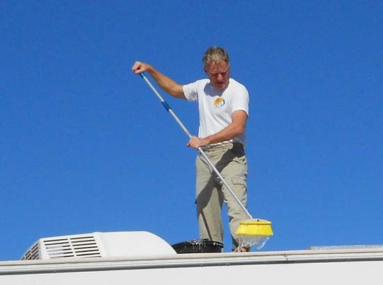 Scrub brush on RV roof