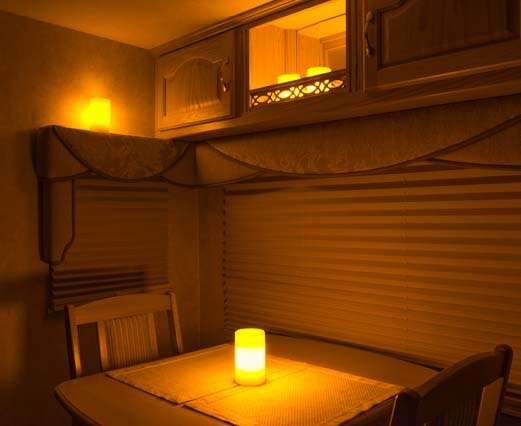 RV tips LED flameless wax pillar candles in RV