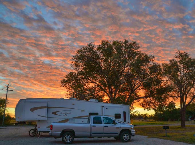 RV and sunset in New Mexico