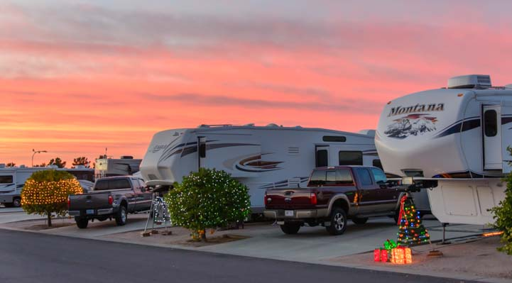 RV holiday lights and Arizona sunset