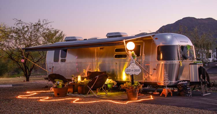 Christmas lights Airstream trailer RV park Arizona