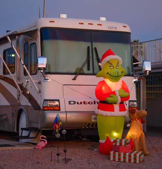 RV with Grinch decorations at Christmas Monte Vista RV Resort AZ