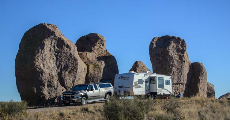 RV camping at City of Rocks New Mexico